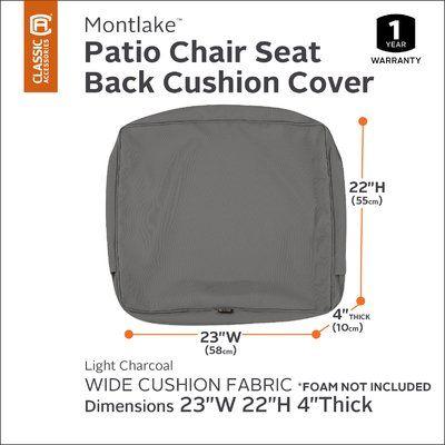 Back Cushion Foam And Montlake Fade Safe Fabric Slip Cover Light Charcoal Grey