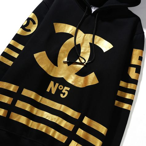 2c9dc288a416 COCO CHANEL Sweat Shirt No 5 Homme Femme Hoodies In Black Gold ...