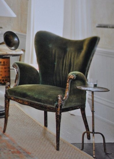 Pretty chair and teensy table. green velvet  wing chair  cocktail table