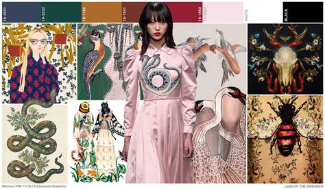 """FASHION VIGNETTE Land of the dreamer is this season's girlie trend, as swans, birds and bugs are the new """"animals"""" of interest. There is a slight surrealist viewpoint as layered graphics and humanized creatures add excitement."""