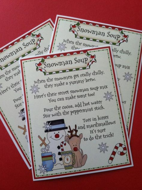 Snowman Soup for Stocking Stuffers Favors Hostess and | Etsy