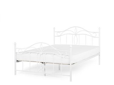 łóżko Białe 160 X 200 Cm Metalowe Ze Stelażem Antlia