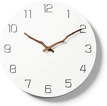 Simple Modern White Round Wooden Wall Clock 11 Inch Non Ticking One Aa Battery Powered Arabic With Bough Hands Clock Wall Clock Wooden Walls