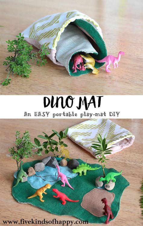 Easy DIY dinosaur play mat toy Easy DIY dinosaur play mat toy, Einfache DIY Dinosaurier Spielmatte S Fun Crafts For Kids, Toddler Crafts, Diy For Kids, Gifts For Kids, Diy Toys For Toddlers, Toddler Toys, Dinosaur Play, Dinosaur Crafts, Dinosaur Small World
