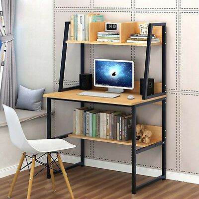 80cm Shelves Kids Study Laptop Table Chipboard Steel Frame Computer Desk Table Desks For Small Spaces Computer Desk With Shelves Modern Computer Desk