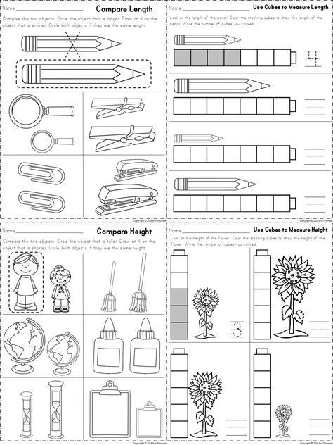 Worksheets For Measuring Length And Height Part Of A Kindergarten Math Unit On Measurement Measurement Kindergarten Kindergarten Math Units Math Measurement