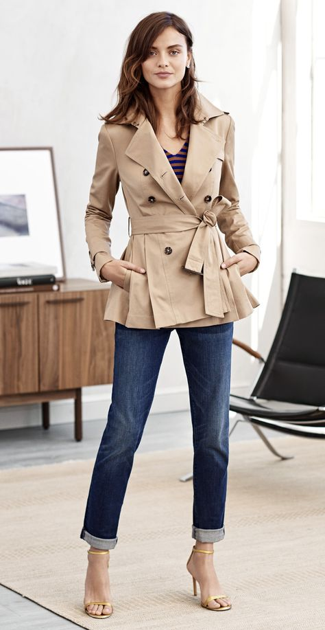 Add an fall twist to your office look with our chic cropped peplum detail trench | Banana Republic