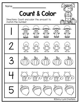 Free Fall Math Counting 1 10 With Images Fall Math Preschool