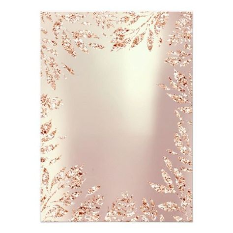 Pink Rose Gold Glitter Leafs Floral Frame Pearly Invitation