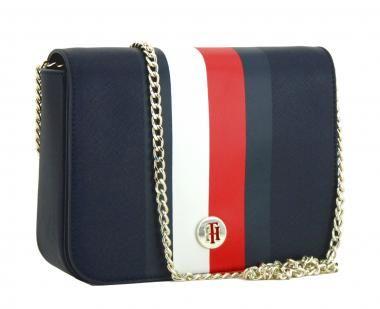 Crossbody Bag Tommy Hilfiger Honey Corporate Stripes Blau Kette Designer Taschen Tommy Hilfiger Taschen