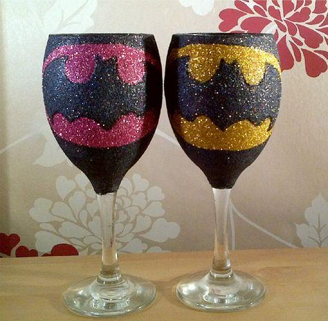 Superhero Glitter Wine Glass Glittered Bling by