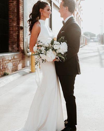 White By Vera Wang High Neck Halter Wedding Dress David S Bridal High Neck Wedding Dress Halter Wedding Dress Wedding Dresses Vera Wang