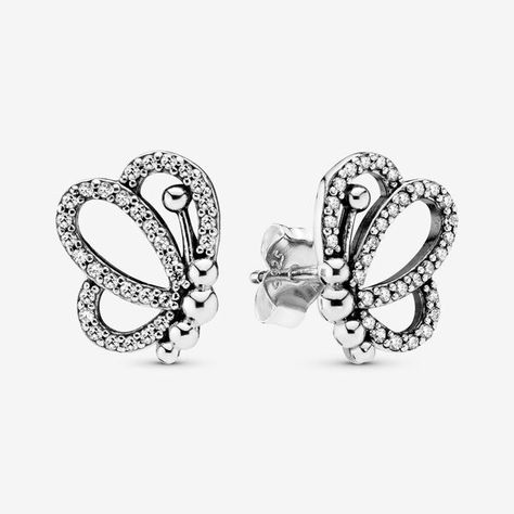 DVANIS Jewelry Rose Gold Plated Color Butterfly Cubic Zirconia Stud Earrings Women