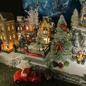 A Christmas Village 2021 6ft Wooden Christmas Tree Corner Shelf Christmas Village Etsy In 2021 Christmas Tree Village Display Christmas Village Display Diy Christmas Village Displays