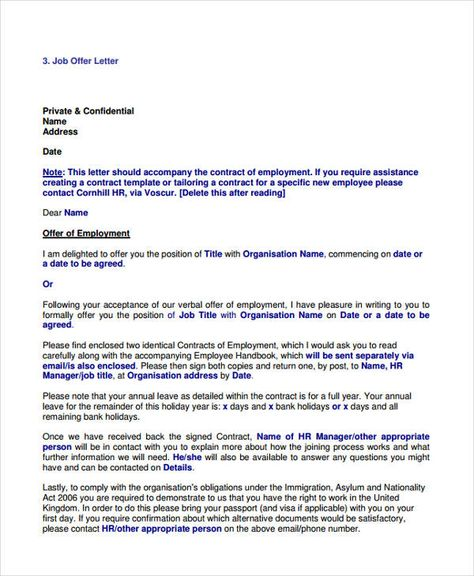 job offer letter examples free amp premium templates samples - work contract template