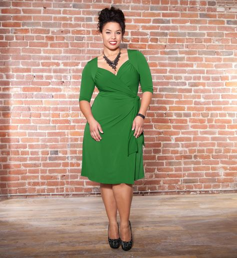 Gorgeously green in the Sweetheart Knit Wrap Dress by Kiyonna. (I wish I could look this fabulous in a dress!)