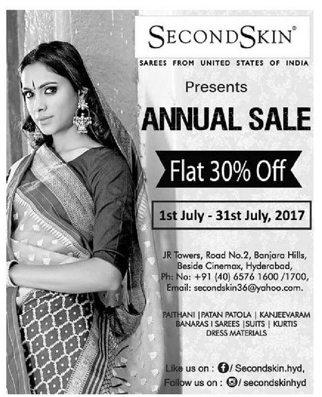 Second Skin Annual Sale Flat 30 Off Ad Eenadu Hyderabad 21 07 2017 Annual Sale Second Skin Ads