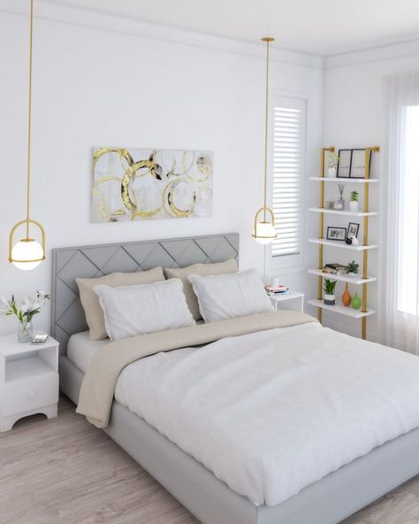 Simple yet glamorous modern white and gold bedroom design. Modern Bedroom Decor, Bedroom Furniture Design, Room Ideas Bedroom, Small Room Bedroom, Small Modern Bedroom, Simple Bedrooms, Gold Bedroom Decor, Simple Bedroom Design, White And Gold Bedding