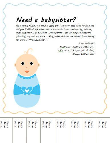 Simple tear-off babysitting flyer - Free Flyer Template by Hloom.com ...
