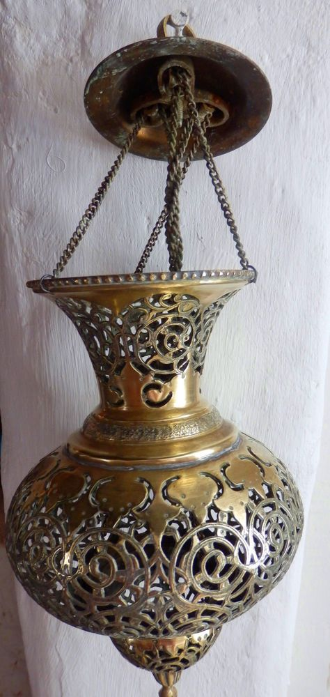 An Islamic Asian Antique Brass Mosque Hanging Lamp Lamp Antiques Asian Antiques