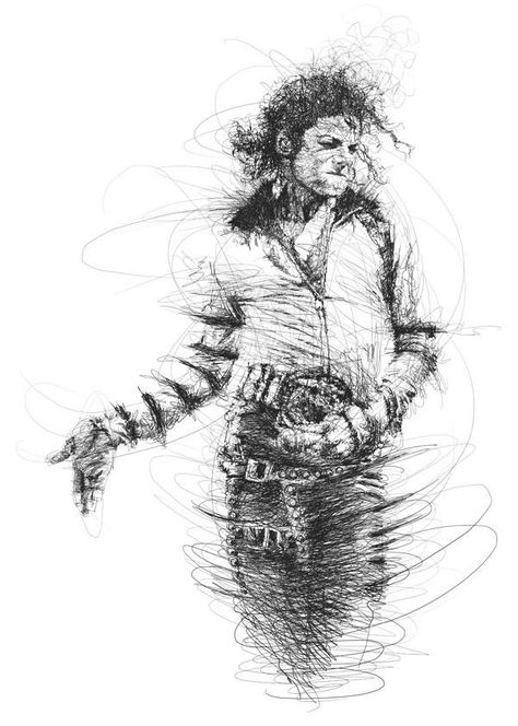Michael Jackson...this drawing shows Michael's unbelieveable movement when twirling. It was the very thing that caused mass man to not be able to turn away.  Good job...artist! Bravo.