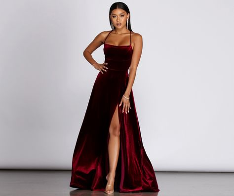 Dakota Velvet Lace Up Evening Gown in 2020 | Evening gowns