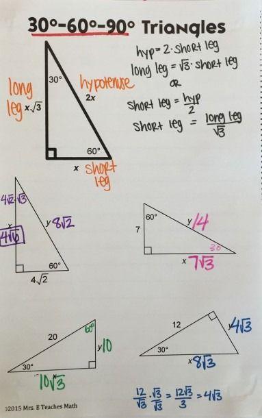 30 60 90 Triangle Diagram Teaching Geometry Math Methods Studying Math