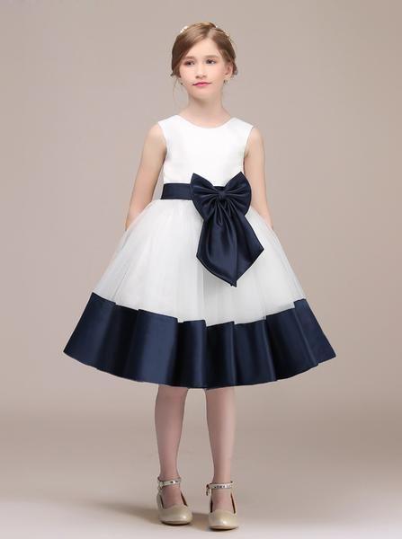 Simple Junior Bridesmaid Dress Kids Knee Length Flower Girl Dress