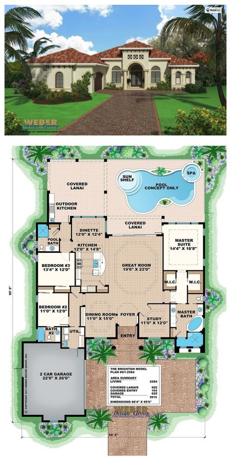 Mediterranean House Plan Small Home Floor Plan With Swimming Pool Mediterranean Homes Mediterranean Homes Exterior Mediterranean House Plans