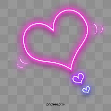 Pink Purple Heart Shaped Neon Effect Border Elements Pink Heart Logo Neon Png Neon