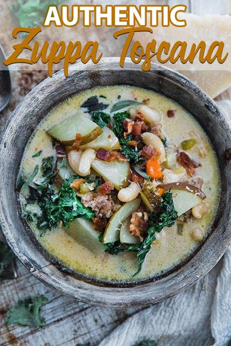 Make this amazing Zuppa Toscana recipe loaded with Italian sausage, kale, cannellini beans, and potatoes! #soup #italianrecipes #zuppatoscana