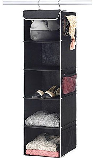 12 x 11 /½  x 42 Gray for Clothes Storage and Accessories, Zober 5-Shelf Hanging Closet Organizer 6 Side Mesh Pockets Breathable Polypropylene Hanging Shelves