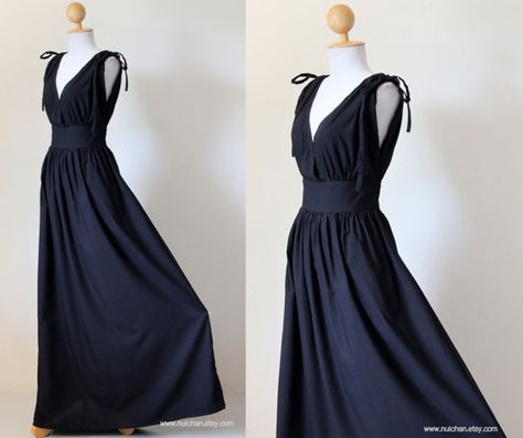 Black Maxi Dress Sleeveless or Short Sleeve Black Cotton Evening Dress : Classy Gorgeous Collection. $59.00, via Etsy.