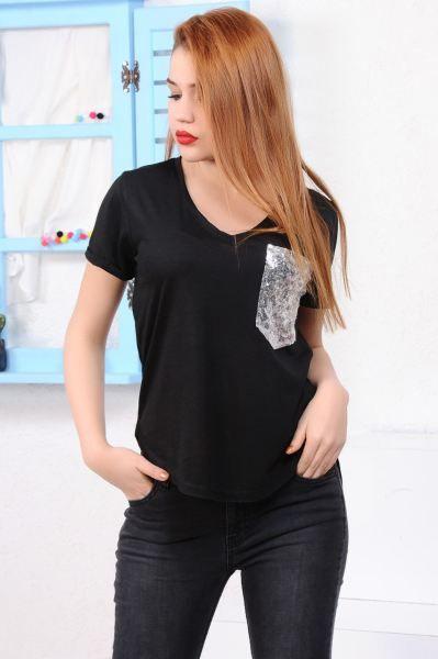 Bayan Tisort Pullu Cep Siyah T Shirt Moda Dugun Toptan Kadin Cool Moda Spor Abiye Fashion Deri Hamile Gunluk Modavigo Otantik Moda Siyah Kadin