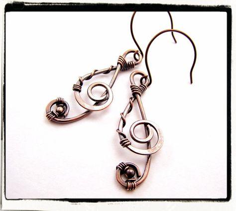 Copper Treble Clef Dangle Hypoallergenic Earrings