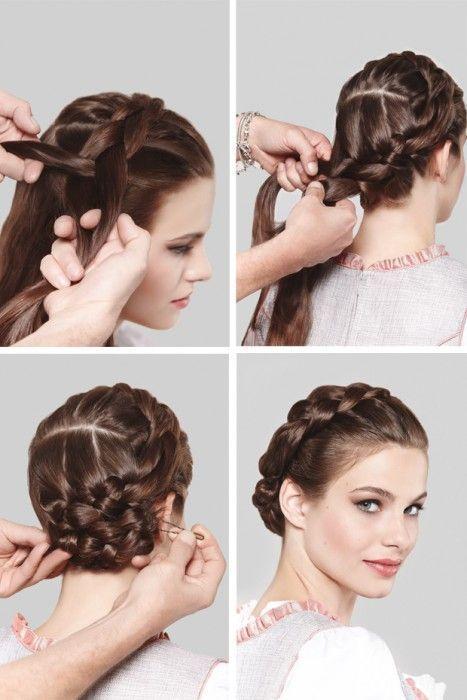 Dirndl Hairstyles For Medium Length Hair With Instructions Dirndl Hairstyles Instructions Le Oktoberfest Frisur Dirndl Frisuren Mittellang Dirndl Frisuren