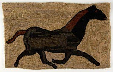 Peggy Teich American Folk Art Figural Hooked Rug Animal Rug Modern Folk Art Antique Folk Art