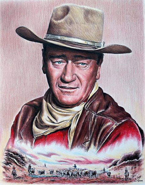 John Wayne Painting - Cattle Drive 2 Sepia by Andrew Read