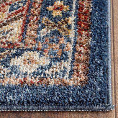 Isanotski Oriental Brown Blue Area Rug
