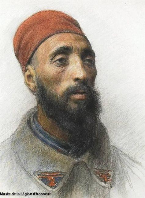 Serraghi Chérif , de Sétif (Kabylie), réserviste algérien du 2e Régiment du génie.   Eugène Burnand / Musée de la Légion d´honneur