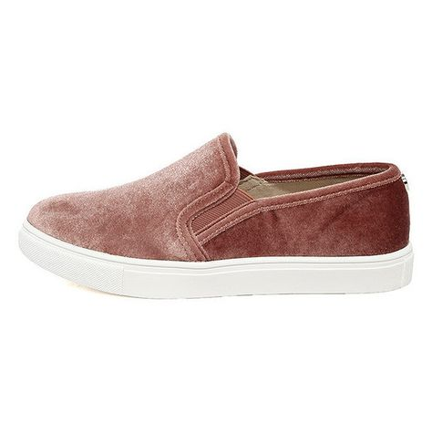 ec3a72a6f4a Steve Madden Ecntrcv Blush Velvet Slip-On Sneakers (3.590 RUB) ❤ liked on
