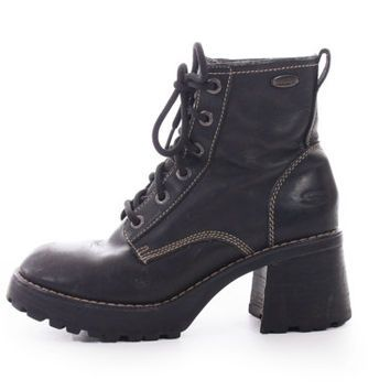 f197d03537232 90s Vintage Black Leather Skechers Chunky Platform Hiking Combat ...