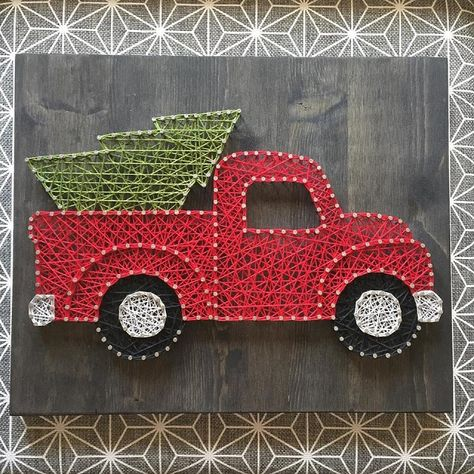 25 Amazing DIY Wall Art Ideas for Special Christmas - Diywallart String Wall Art, Nail String Art, Diy Wall Art, Diy Art, Christmas Tree Art, Christmas Truck, Xmas, Christmas Baubles, String Art Templates