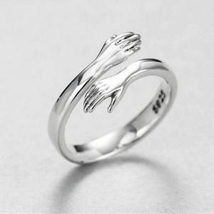 925 Silver Hugging Hands Ring Silver Love Ring Adjustable | Etsy