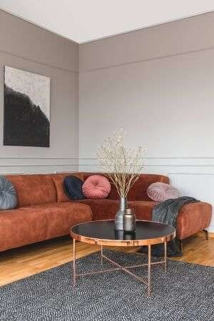 Contemporary Grey Living Room Abstract Black And White Painting On Grey Empty Wall Of Contemp Brown Living Room Decor Living Room Design Decor Living Room Grey