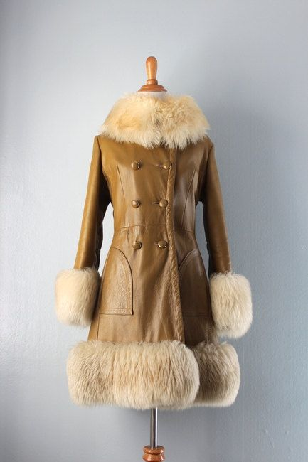 1960s Coat / Vintage 60s Leather Princess Coat / Shearling Collar Coat. $88.00, via Etsy.