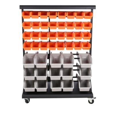 TRINITY Dual-Sided Mobile Bin Rack