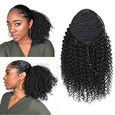 Ad Afro Curly Human Hair Ponytail Extensions 14 Inches Short Cute Curly Wrap Puff Human Hair Ponytail Extensions Remy Human Hair Extensions Curly Hair Styles