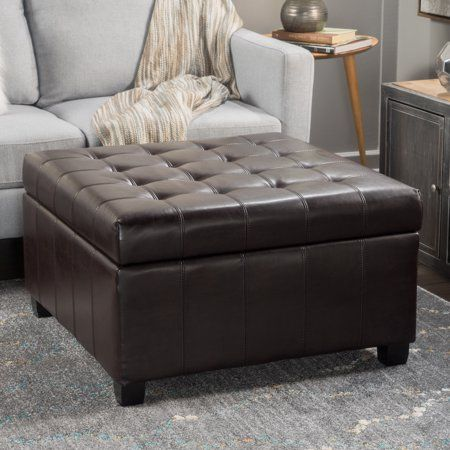 Super Alondra Brown Bonded Leather Storage Ottoman Walmart Com Cjindustries Chair Design For Home Cjindustriesco