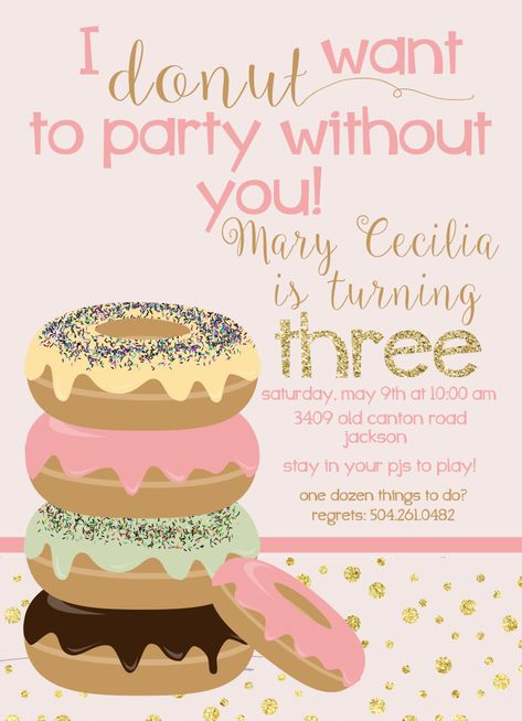 Donut and PJs Party invitation by RuffDraftPapers on Etsy https://www.etsy.com/listing/232773032/donut-and-pjs-party-invitation